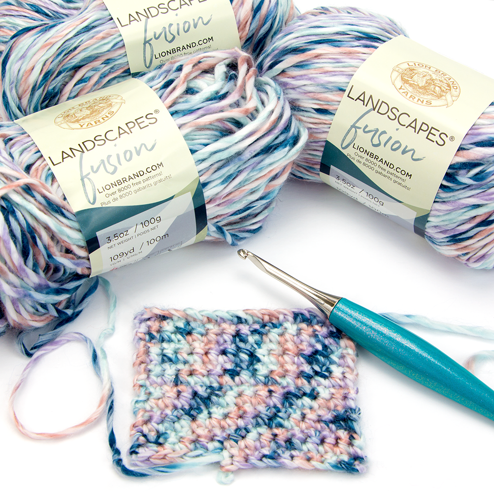 Crochet swatch with a Furls Crochet Hook with the new Landscapes Fusion yarn in Morningside