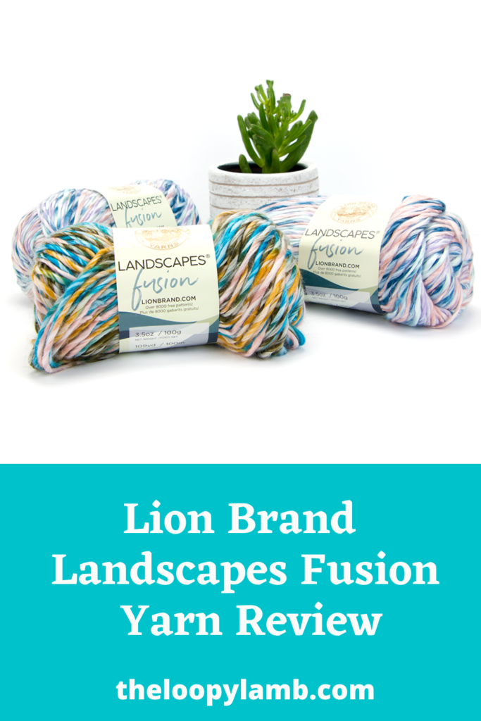 Lion Brand Landscapes Fusion laid out displayed in a group with a text overlay indicating this is a yarn review.