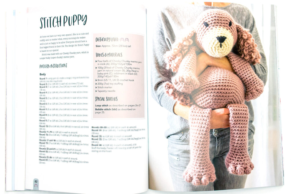 Stitch Puppy Amigurumi Dog pattern in the book Mabel Bunny & Co.