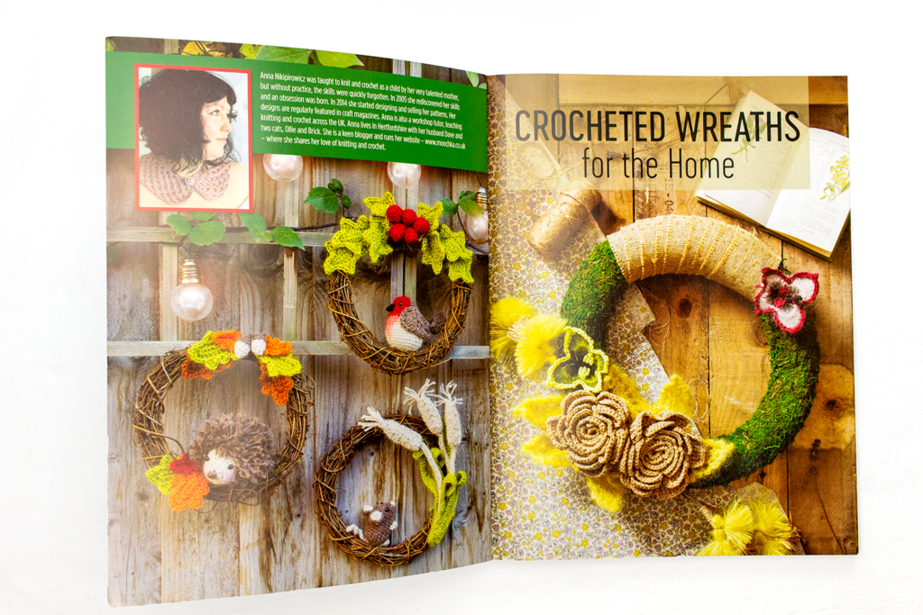 Inside cover of the crocheted wreaths for the home book