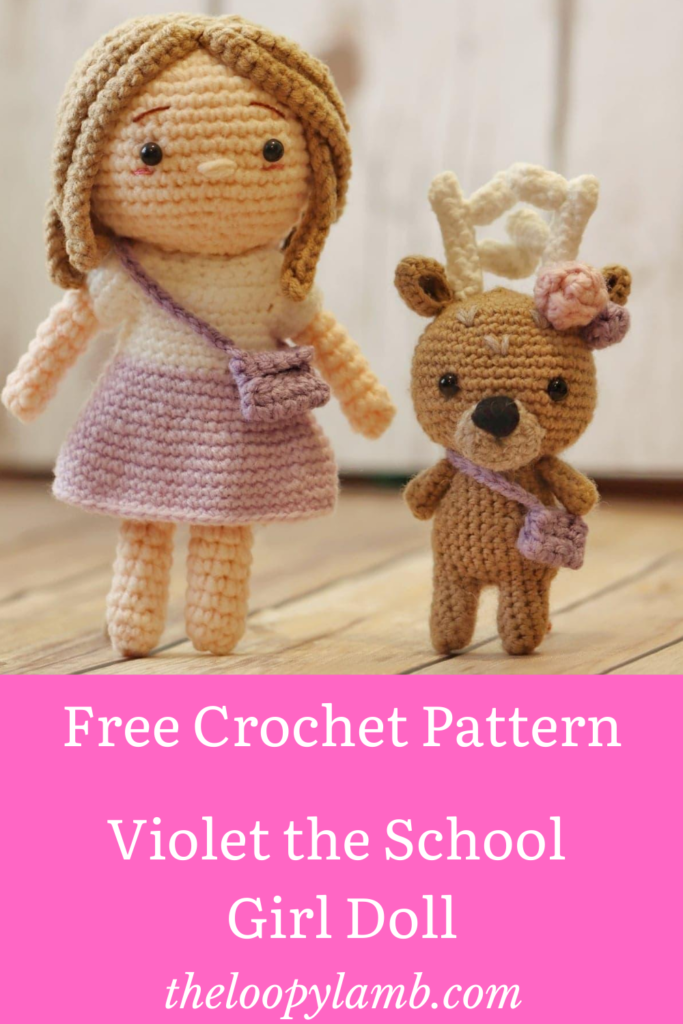 Amigurumi doll and reindeer made with this free crochet doll pattern