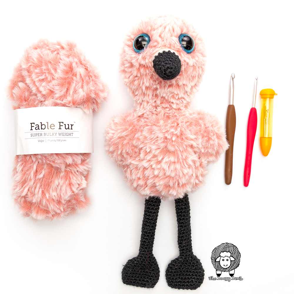 Pink Fable Fur with the crochet flamingo made with this free crochet pattern