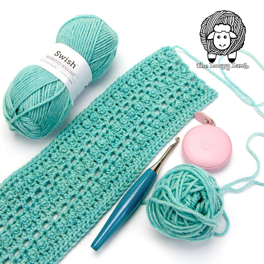 work in progress picture of the picot single crochet ear warmer