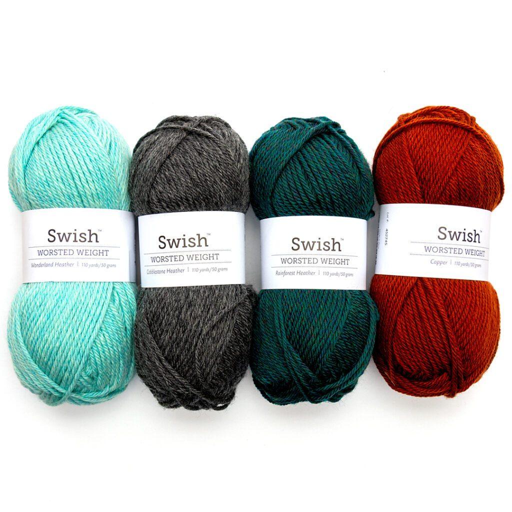 Swish Worsted Weight Yarn in Wonderland Heather, Cobblestone Heather, Rainforest Heather. and Copper