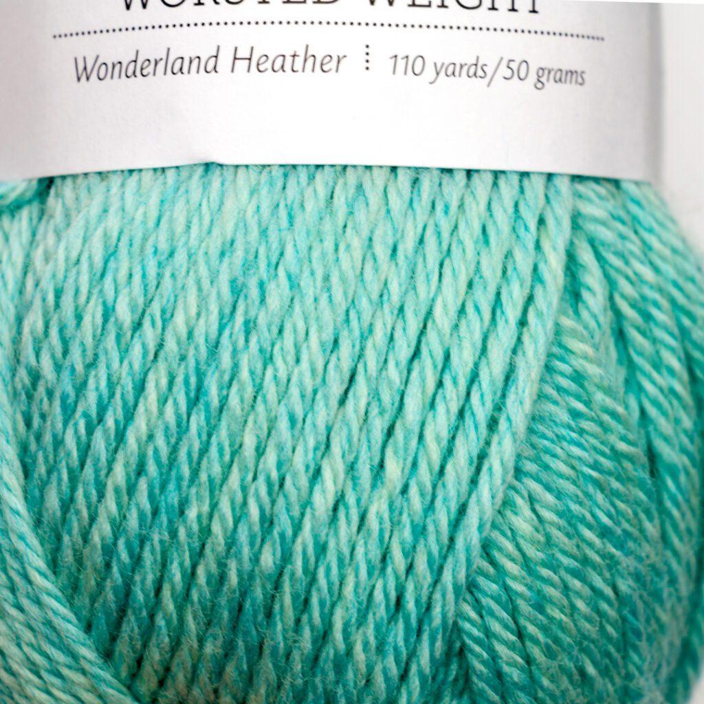 close up image of wonderland heather swish worsted weight yarn