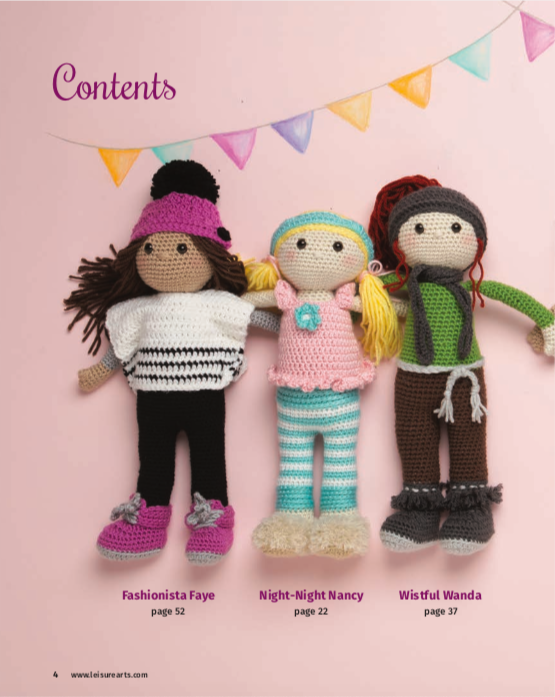 3 different crochet dolls in a flat lay