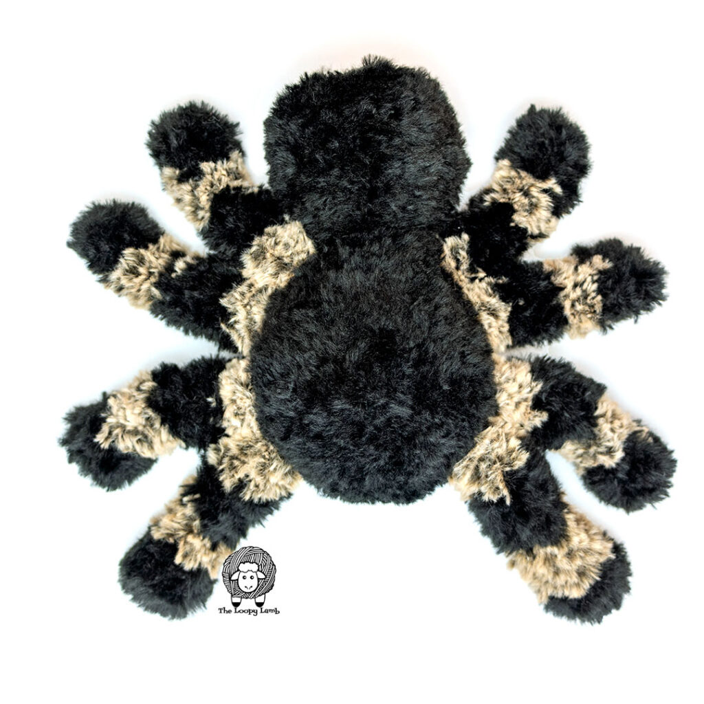 Top view of the spider made with this free crochet pattern