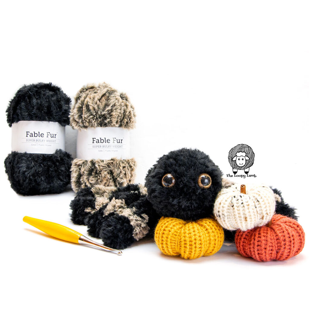 Crochet Spider with Fable Fur Yarn from We Crochet and a Furls Crochet Hook
