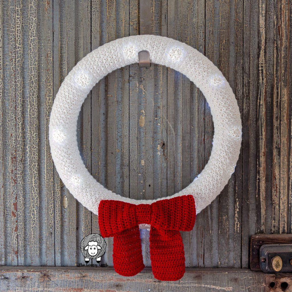 light up crochet christmas wreath