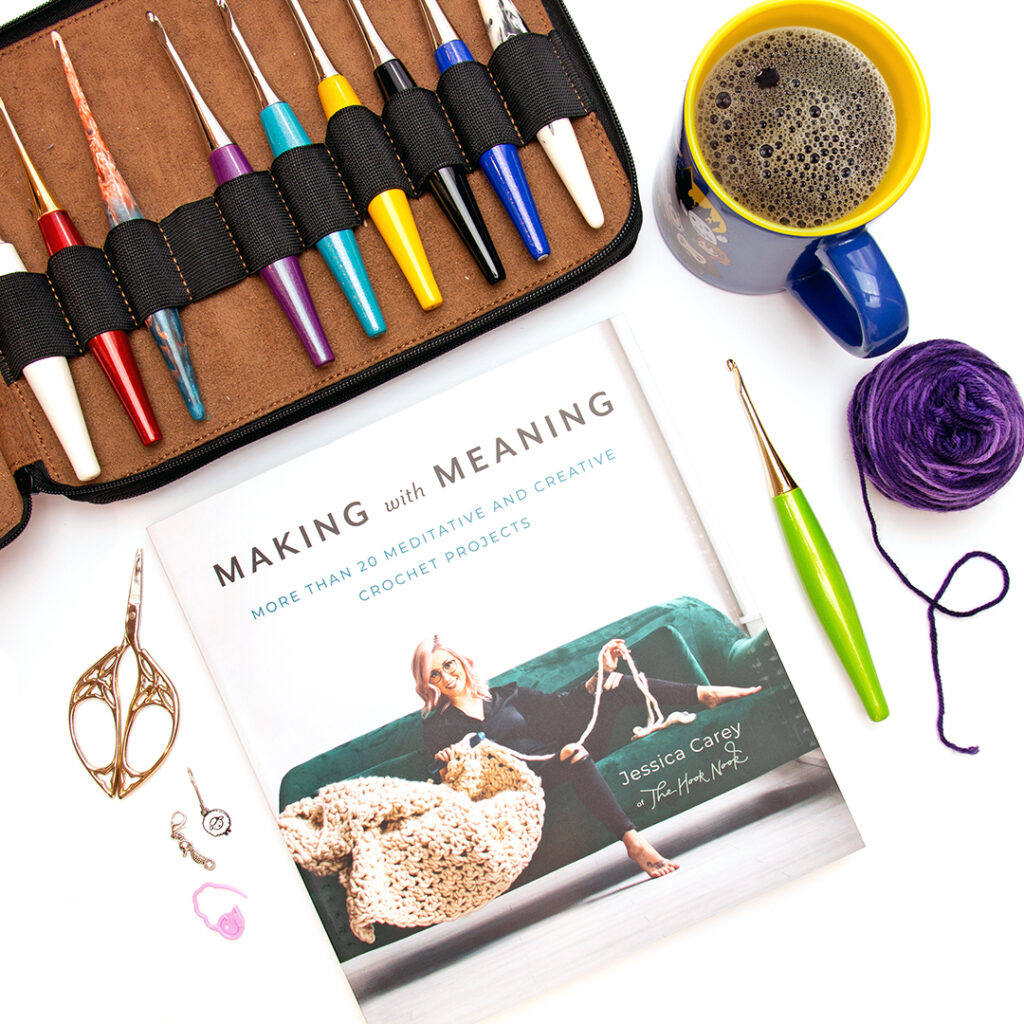 Copy of Making with Meaning by Jessica Carey in a flat with some Furls Crochet Hooks and crochet accessories