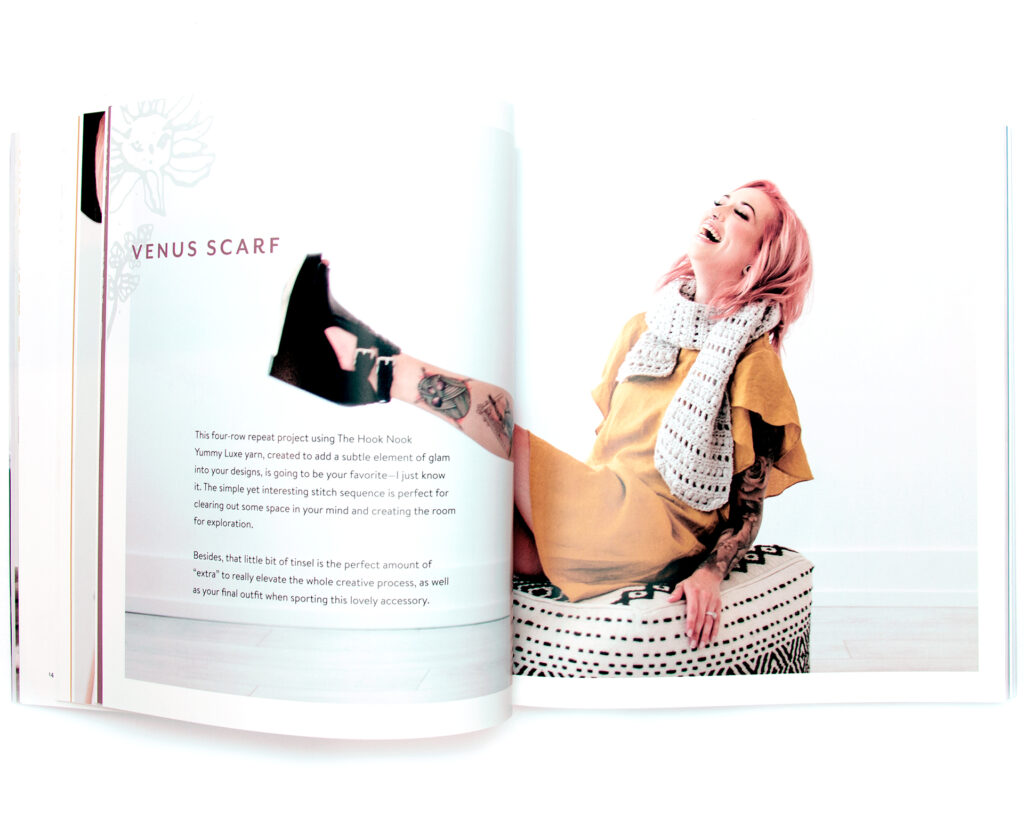 Image of Jessica Carey wearing the venus scarf inside Making with Meaning