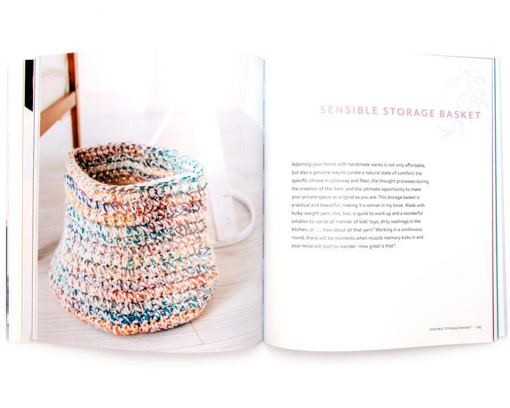 Crochet storage basket pattern image found within the book.