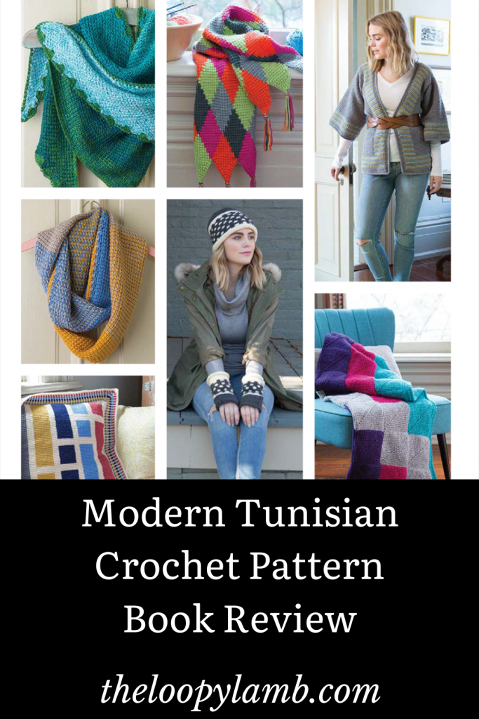 Collage of tunisian crochet projects available in Modern Tunisian Book