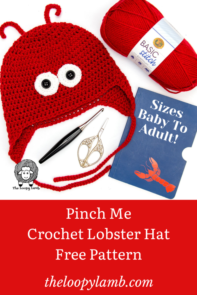 Red Crochet Lobster Hat in a Flat Lay with Crochet Accessories