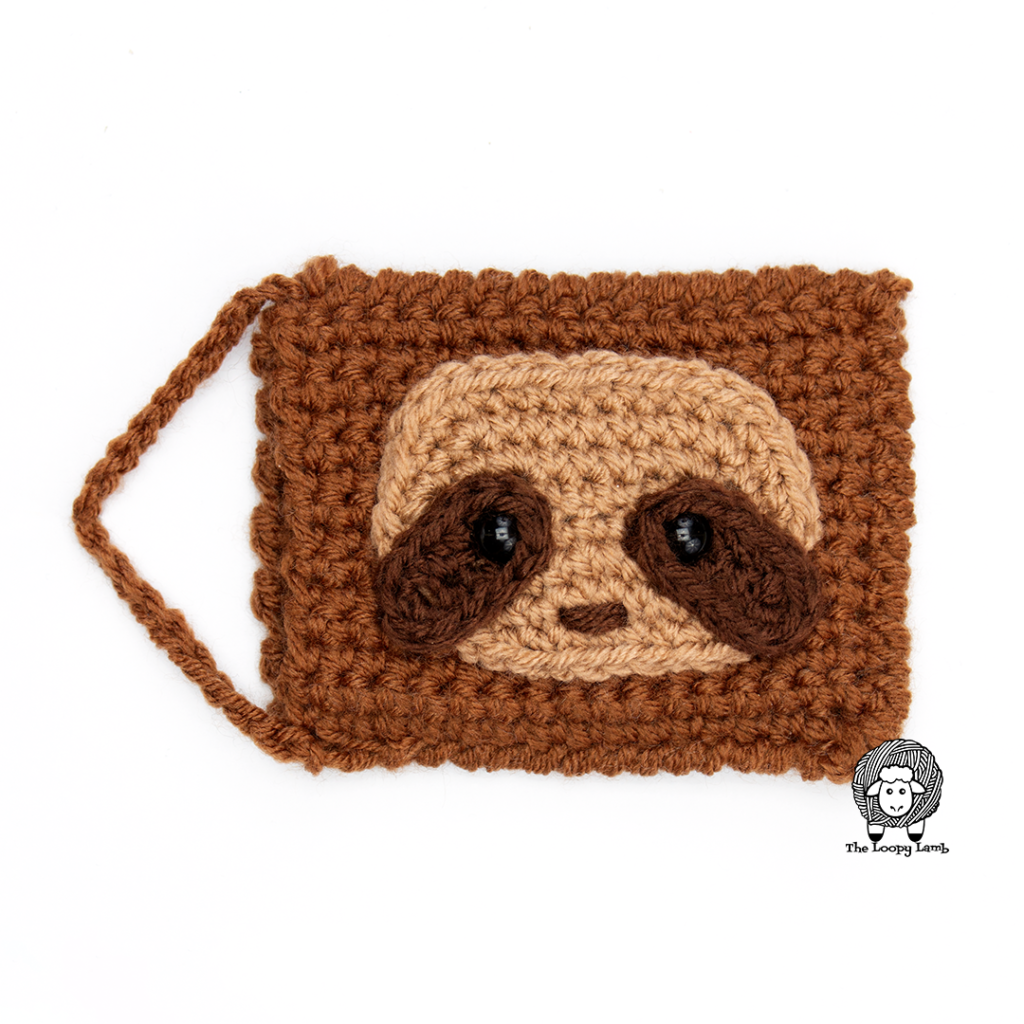 Sloth Crochet Gift Card Holder made with this free crochet pattern