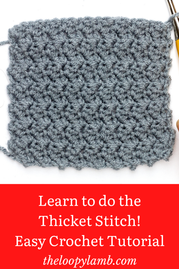 Crochet Thicket stitch Swatch with a text overlay indicating a tutorial for beginner crocheters