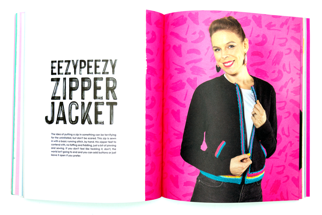 woman wearing the Eezypeezy zipper jacket in Crochet Hacking
