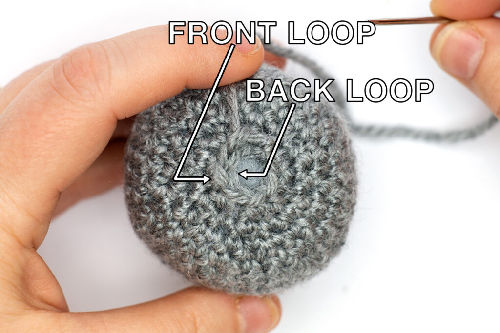 amigurumi project showing the difference between front and back loops in crochet stitches