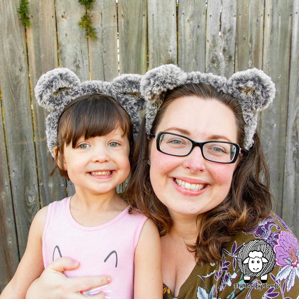 Mother and daughter wearing crochet animal ears headbands