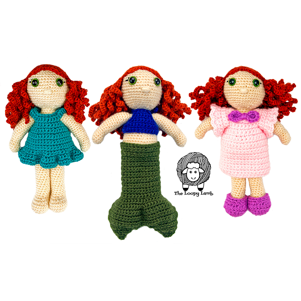 The three different versions of the amigurumi doll with removeable clothes