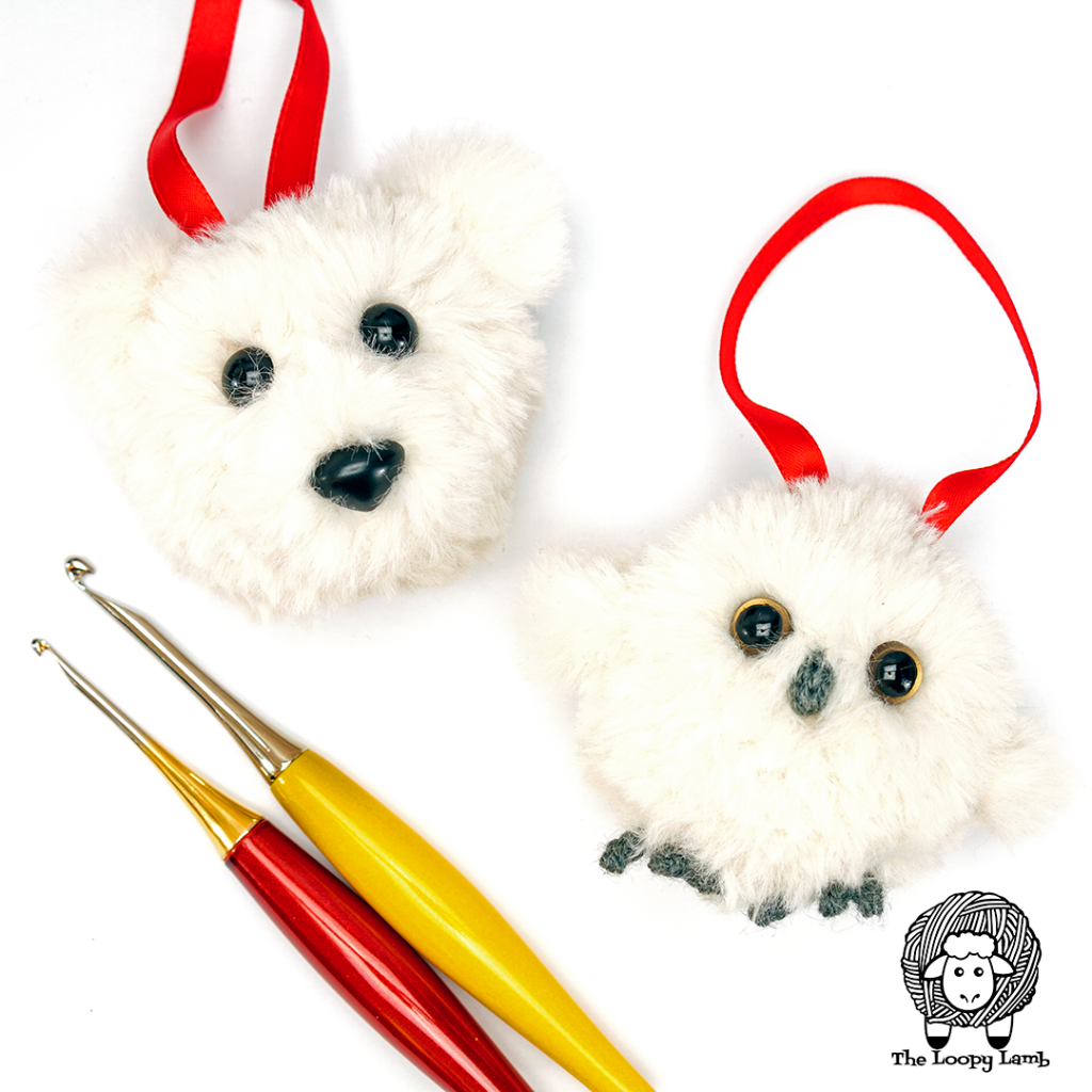 two crochet ornaments in a flat lay with some Furls crochet hooks
