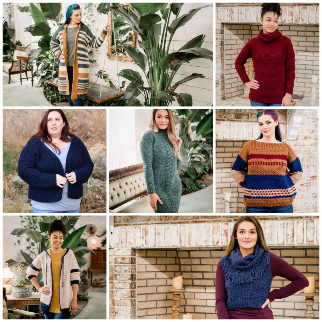 Collage of woman wearing crochet garments from the Crochet Foundry Winter 2020 Edition