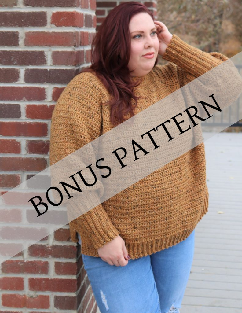 plus size garment model showing the bonus pattern from the crochet foundry magazine extra bundle