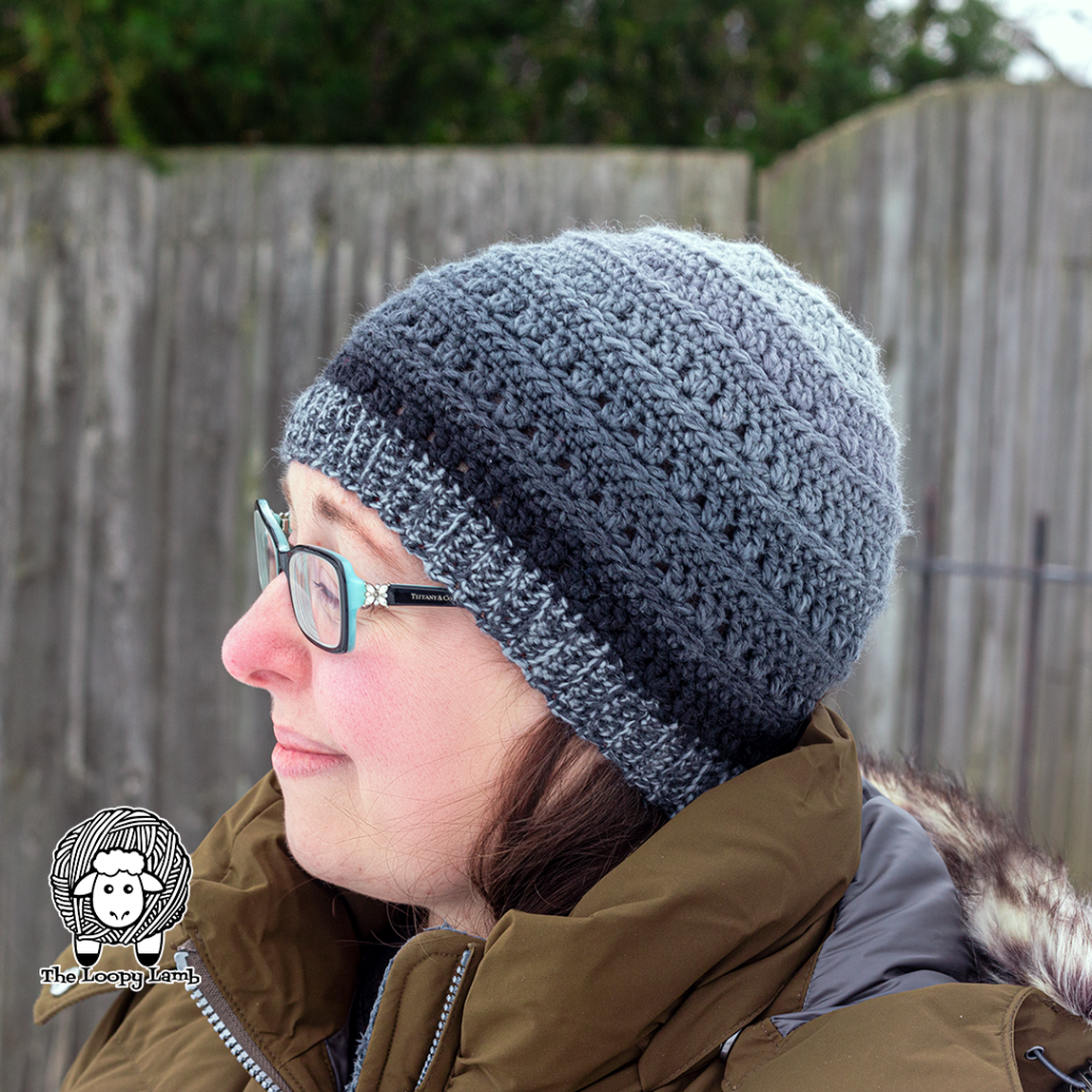 Adult small version of  a hat made with this One Skein Crochet Hat Pattern
