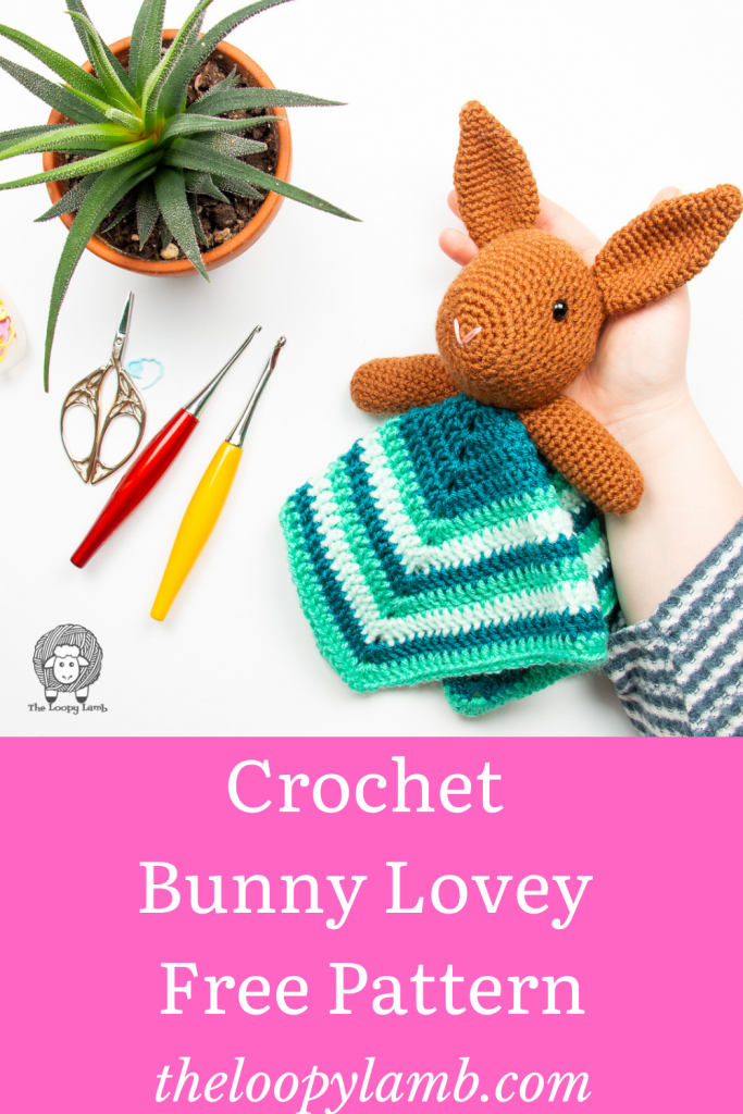 crochet bunny lovey made with a free crochet pattern