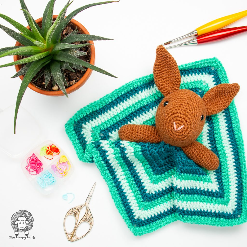 crochet bunny lovey that was made with this free crochet pattern