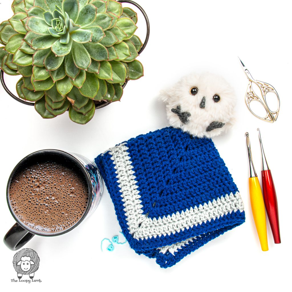 crochet security blanket made with this crochet owl lovey free pattern