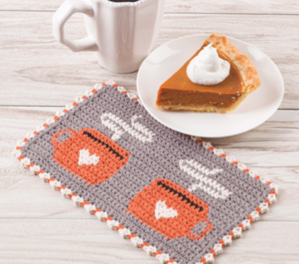 Farmhouse mug mat with coffee cups on it