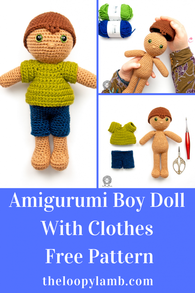 collage of photos showing a crochet boy doll and clothes made with this Free Amigurumi Doll Clothes Pattern