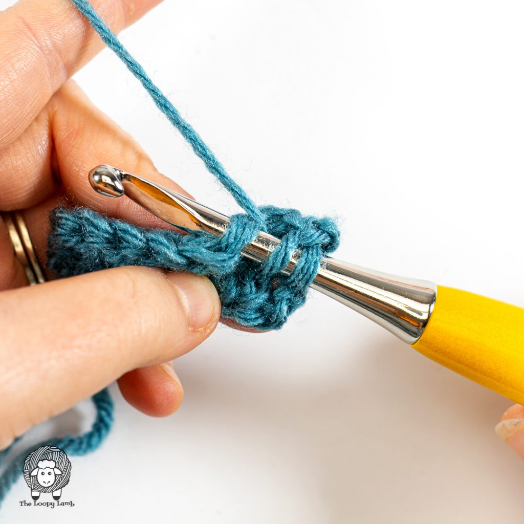 step one of the double crochet decrease