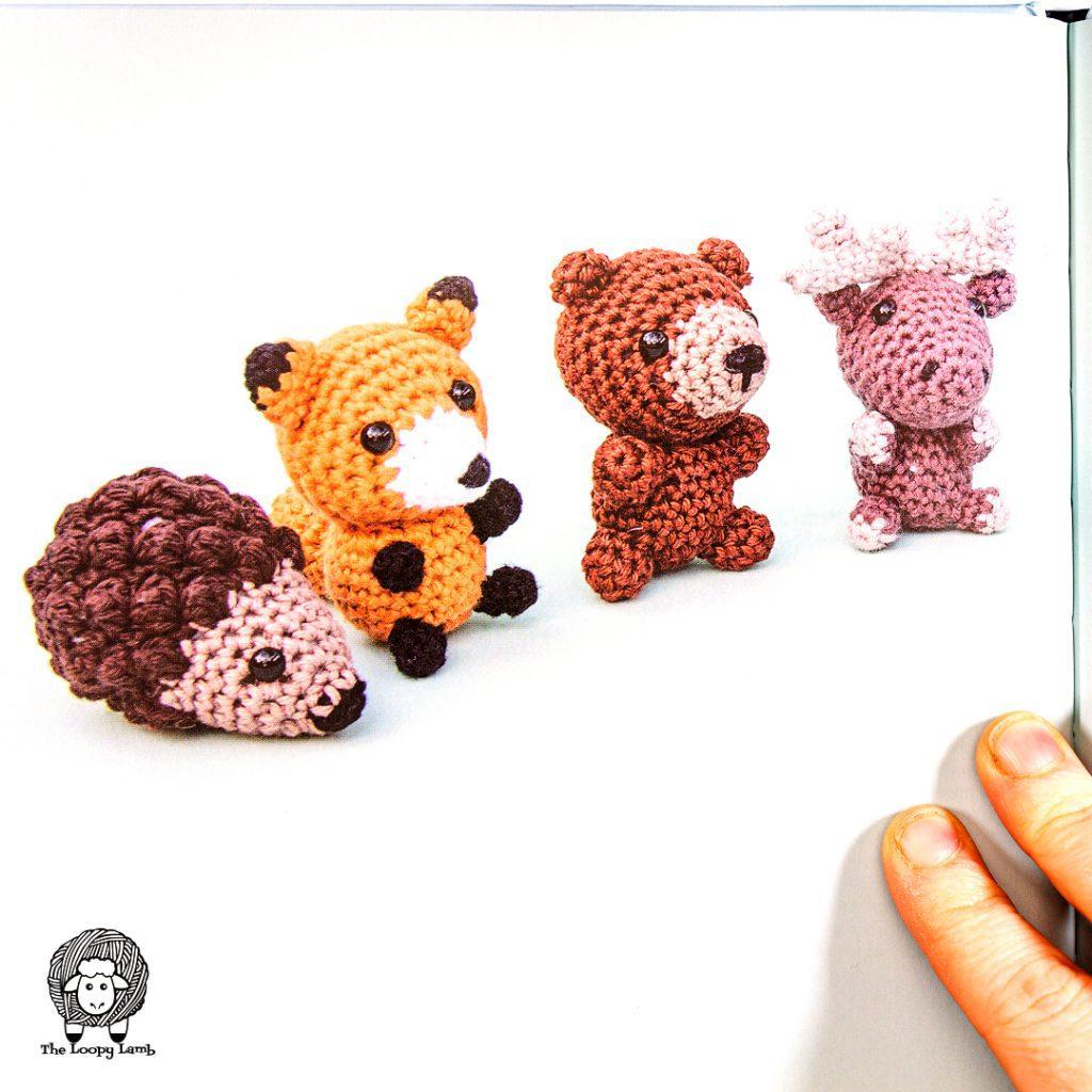 mini amigurumi animals lined up