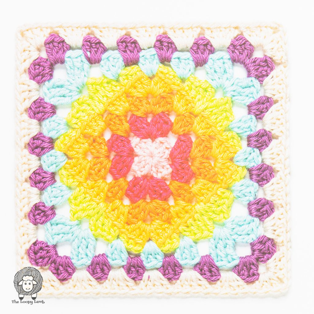 bright an colourful granny square, included in the book
