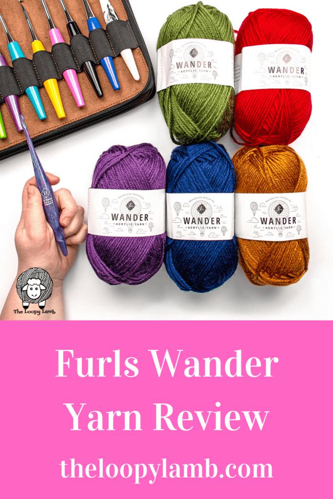 Furls Wander Yarn in a flat lay with furls odyssey crochet hooks