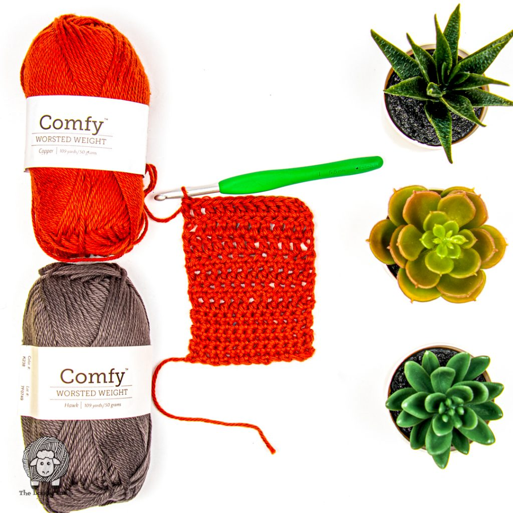 Flat lay with We Crochet Comfy Worsted yarn in a swatch and three succulent plants