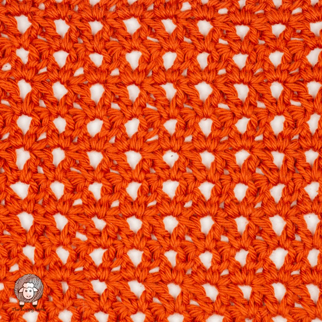 Close up image of the crochet swatch