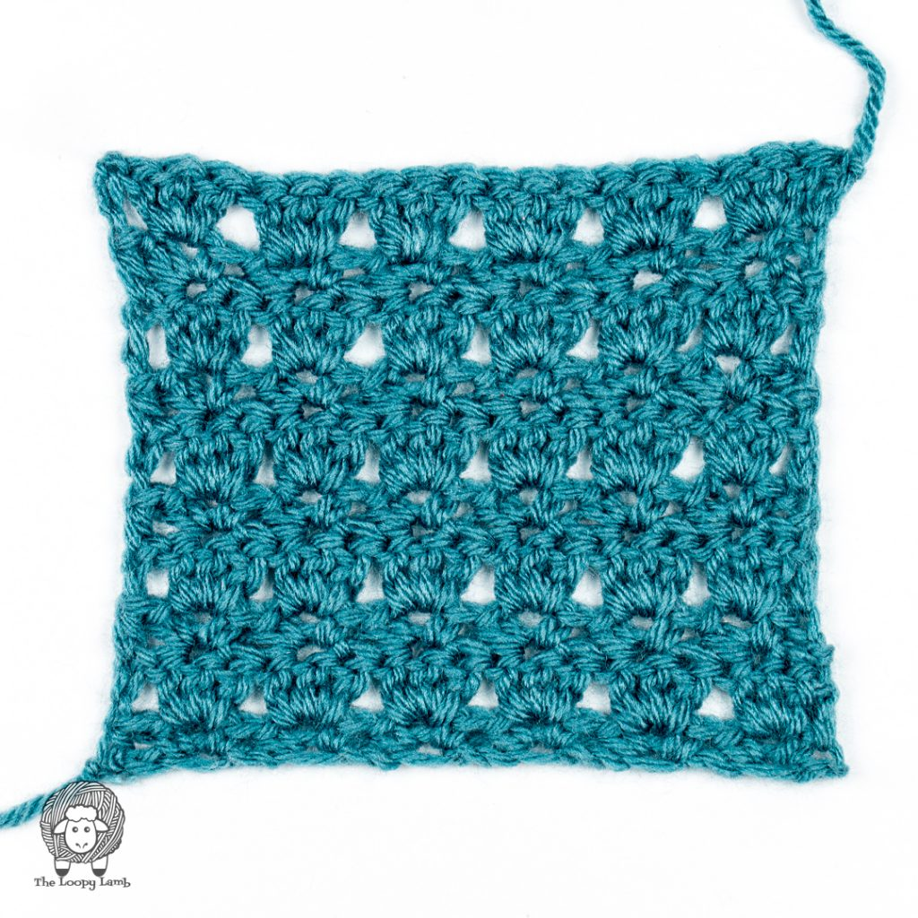 completed Primrose stitch swatch in blue