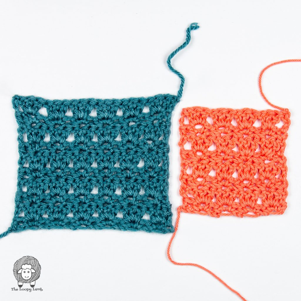 two completed crochet stitch swatches side by side one in blue and one in coral