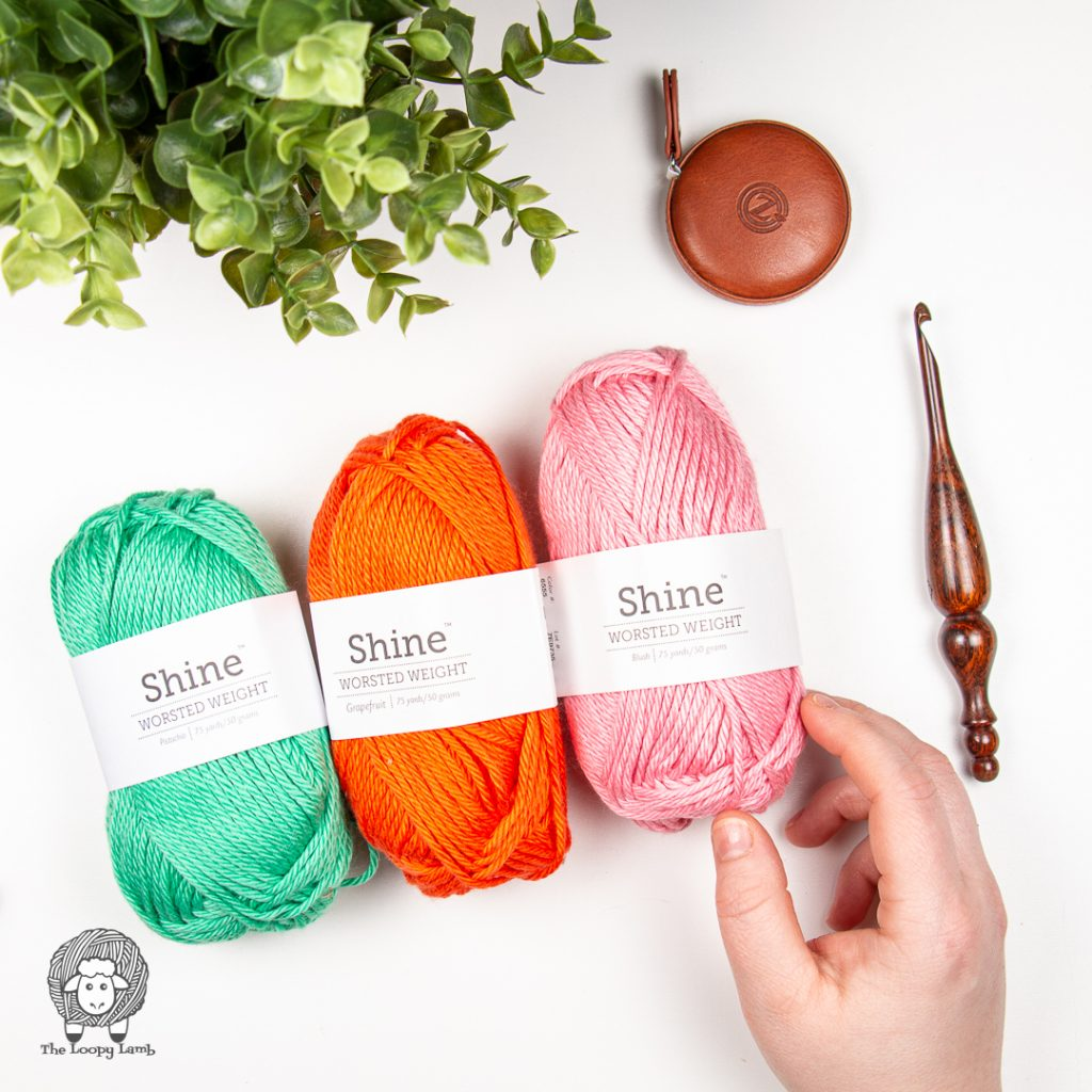 three different colours of one of the summer yarns being reviewed: shine worsted