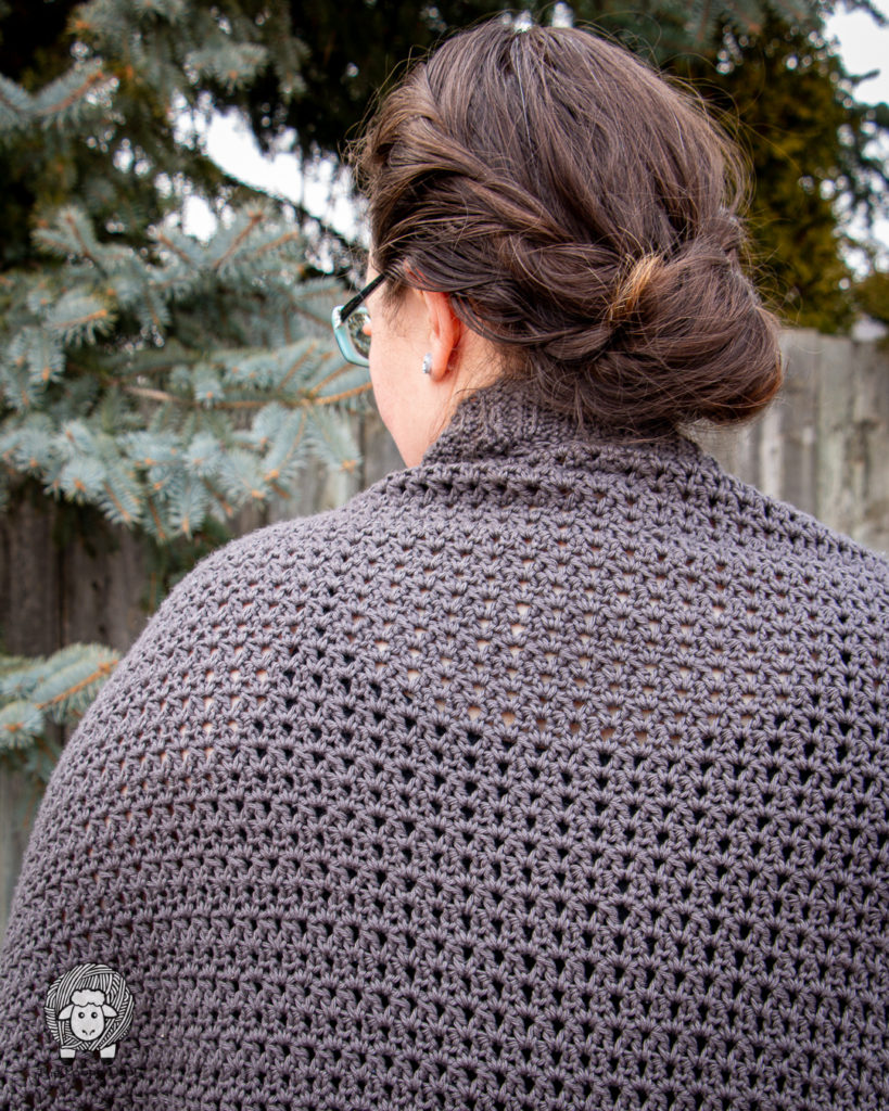 backview and close up of the stitch texture of the comfy spring cardi