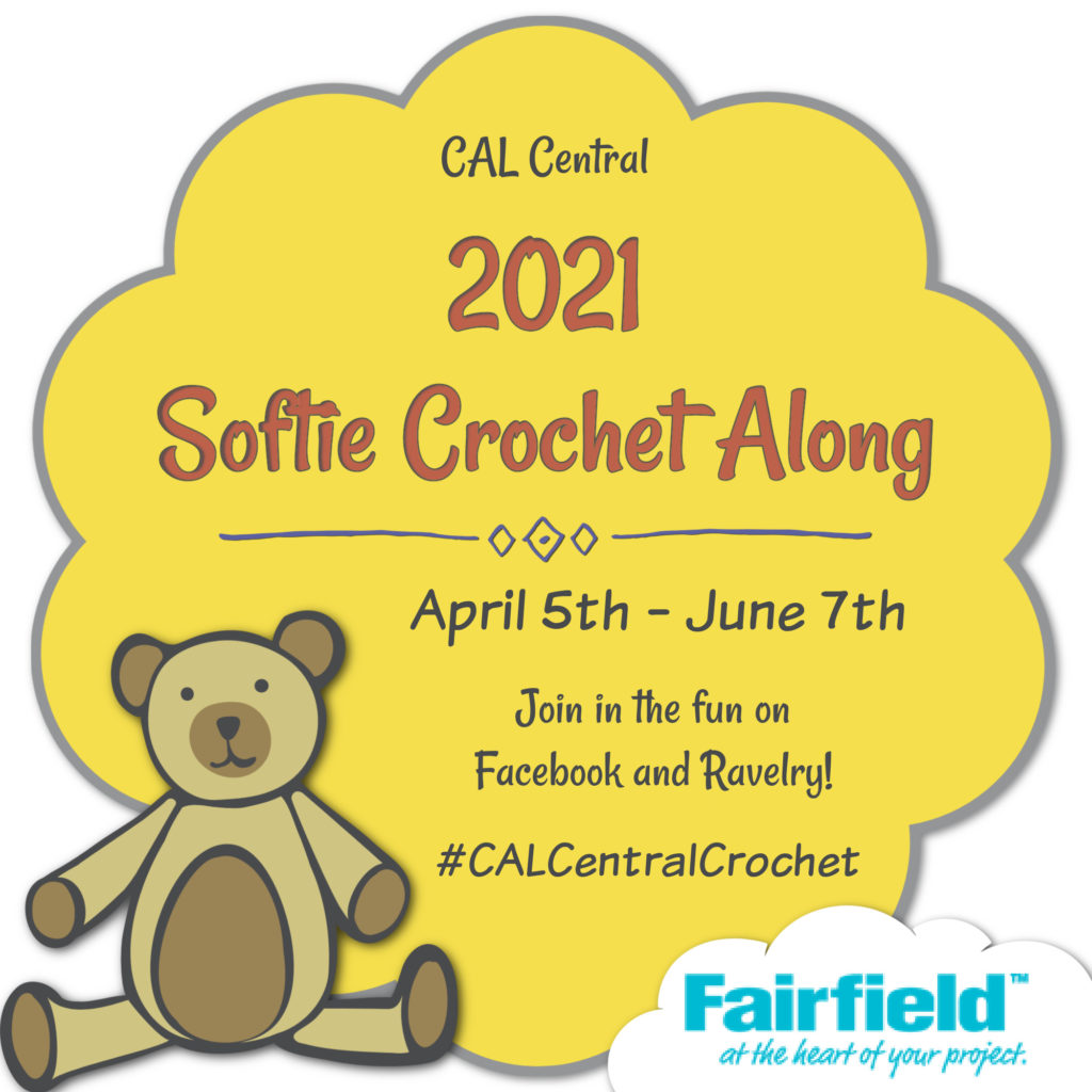 image of a teddy bear with text indication a softie crochet along