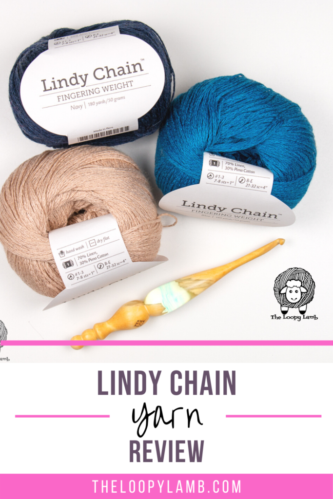 Three balls of Lindy Chain Yarn with a text overlay indicating this is a yarn review