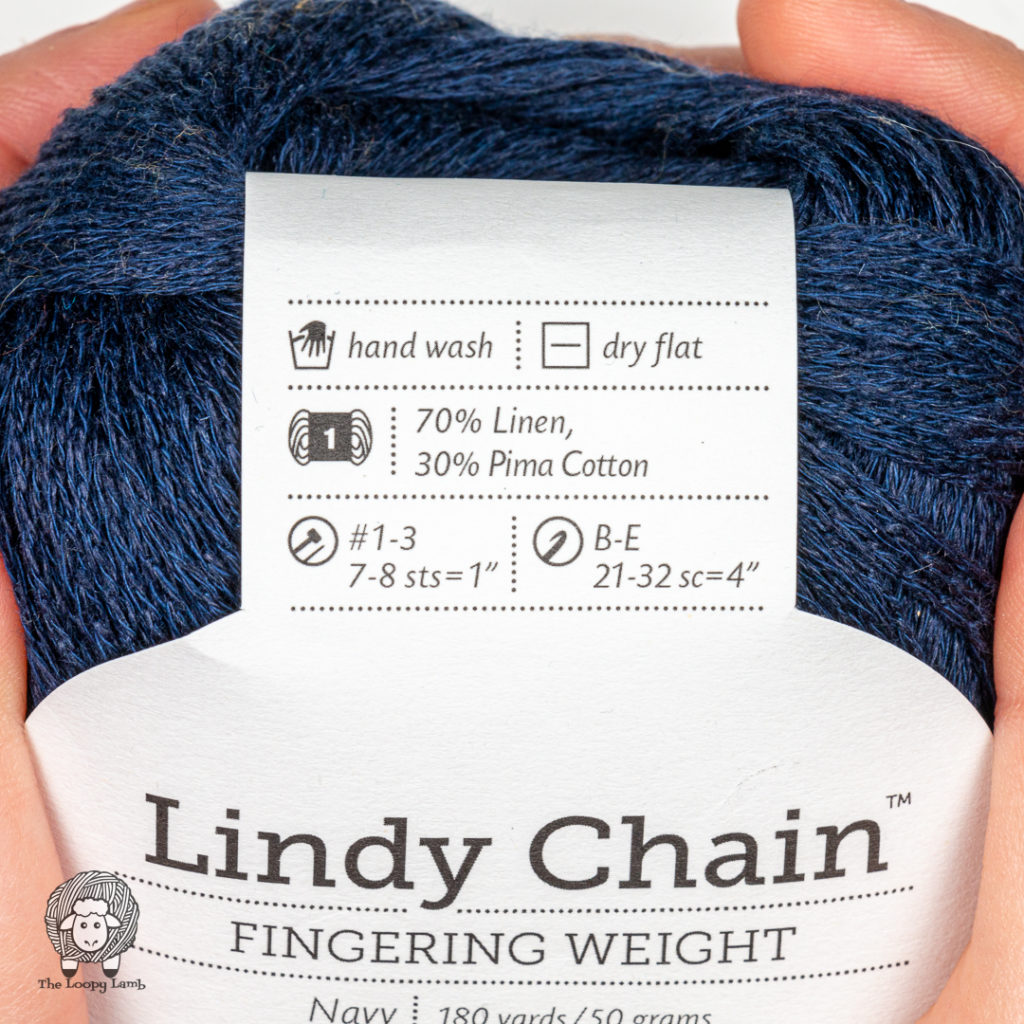 close up of the yarn label on this spring and summer yarn being reviewed
