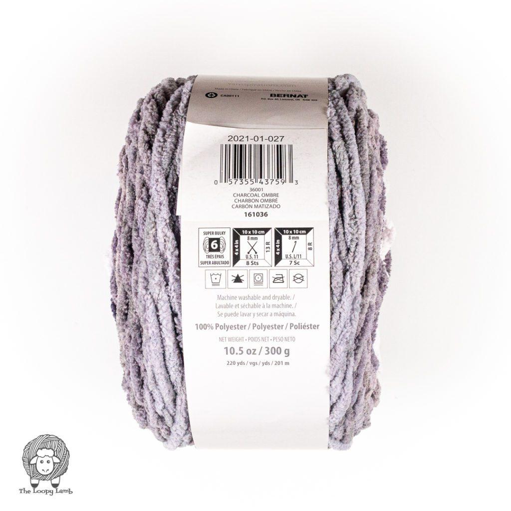 yarn label of bernat balnket ombre