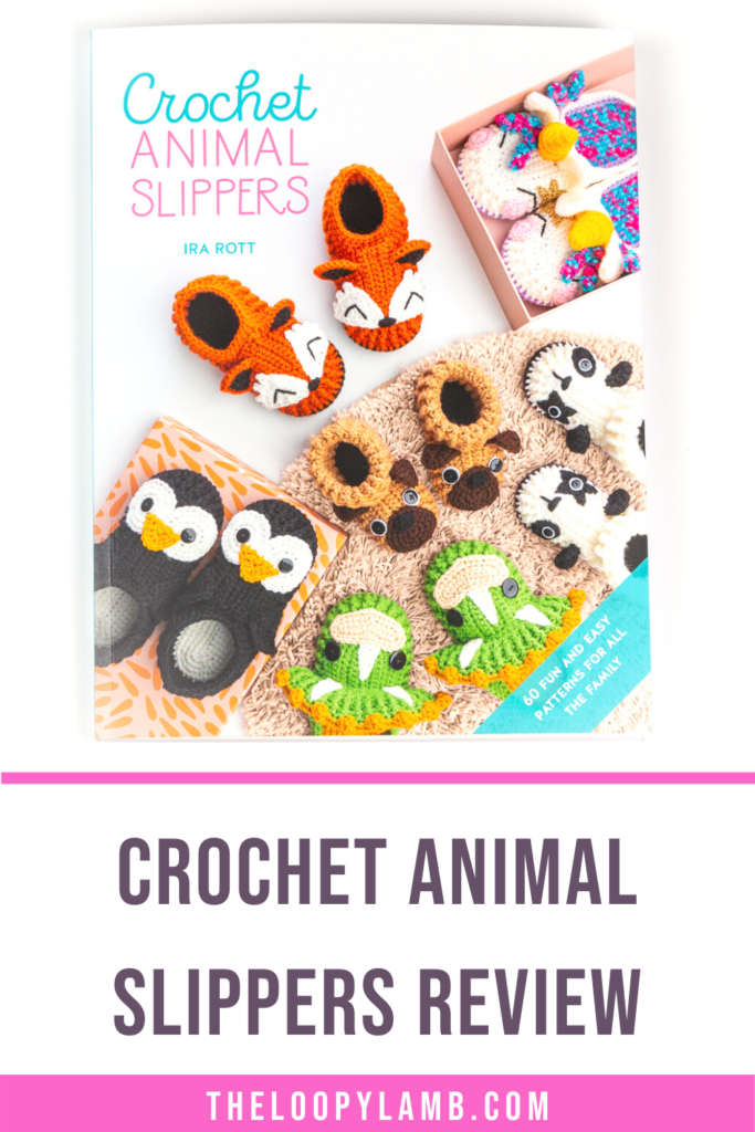 cover image of Crochet Animal Slippers by Ira Rott with text indicating this is a review of that book