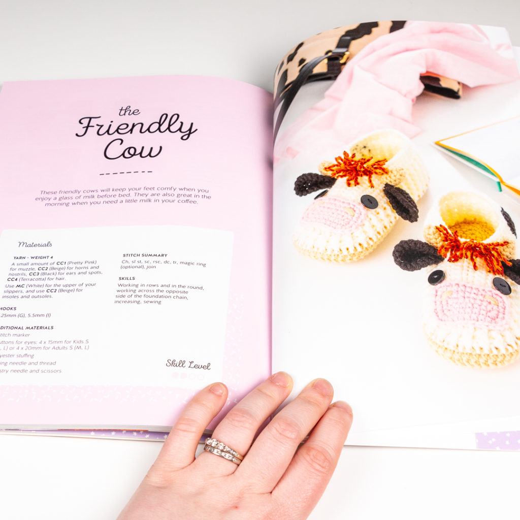 Friendly cow slippers fromthe book being reviewed