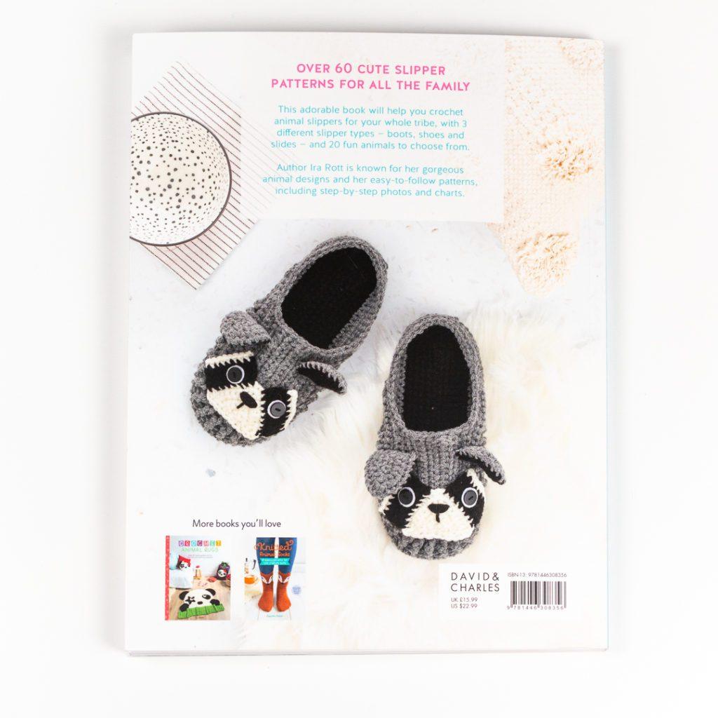 back cover of crochet animal slippers by ira rott